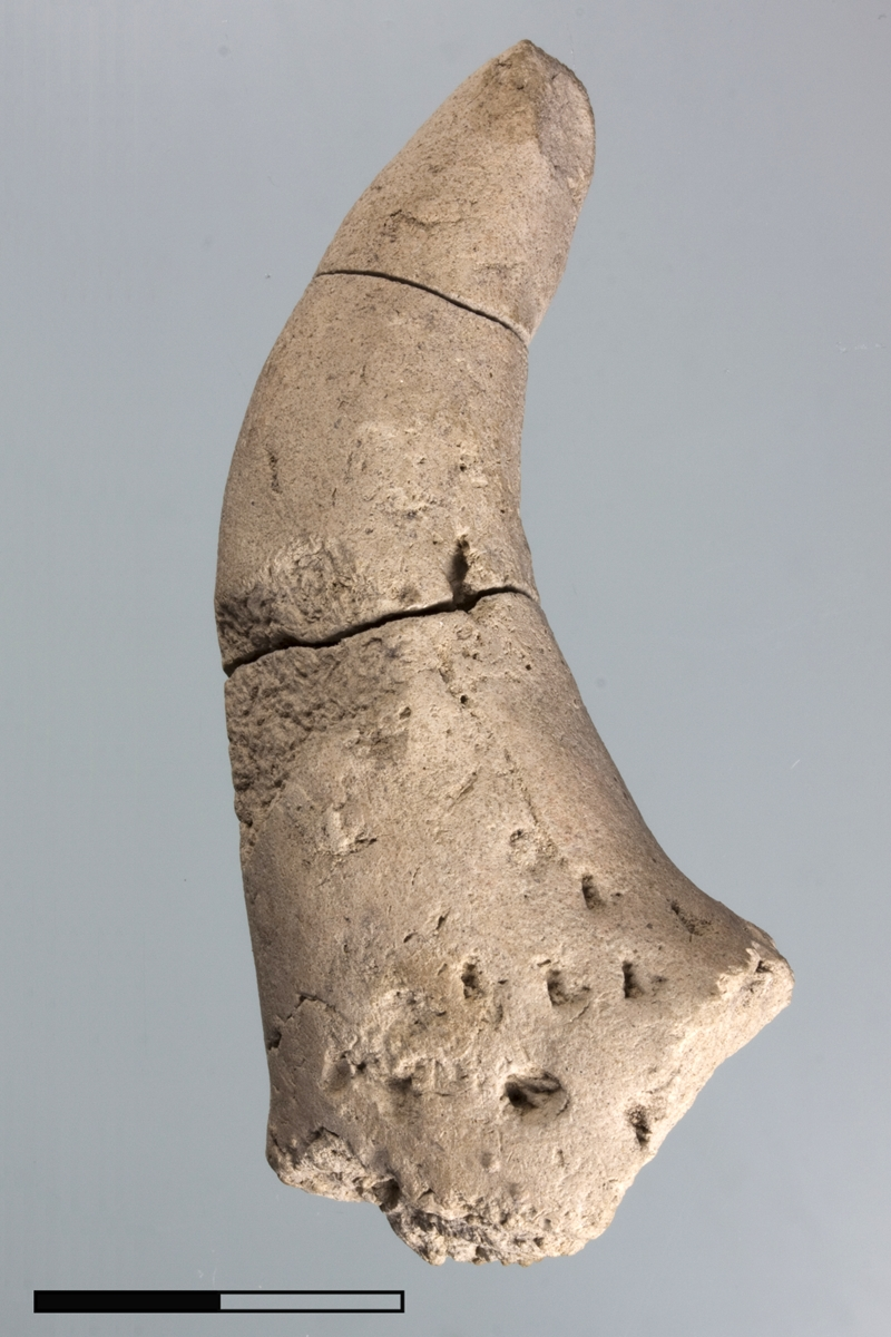 Clay object in the form of an animal horn.